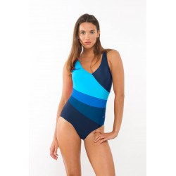One piece swimsuit with diagonal stripes