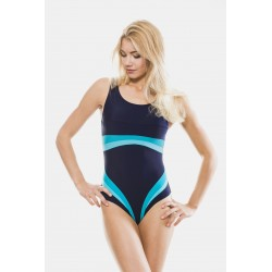 Colorful striped one piece swimsuit