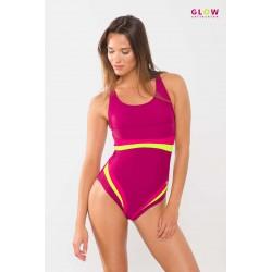 One piece swimwear with colorful stripes