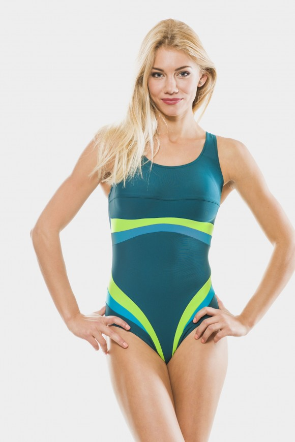 431/50  Kostium pływacki z kolorowymi paskami