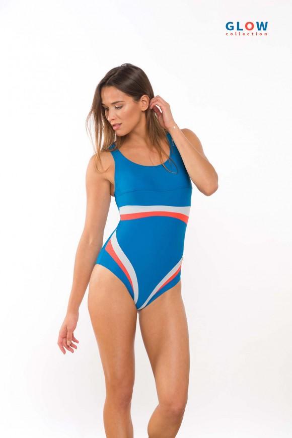 2431/80  Kostium pływacki z kolorowymi paskami