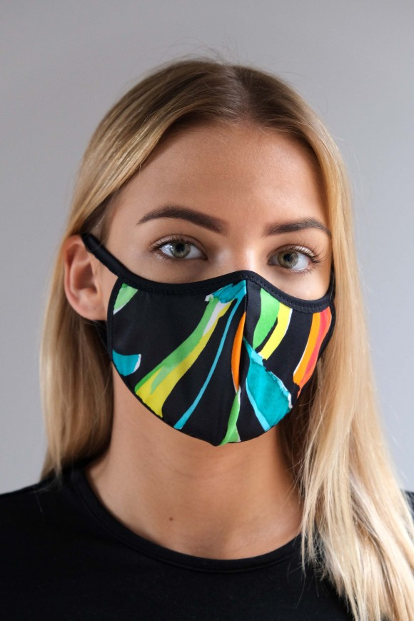 PROTECTIVE 1-LAYER FACE MASK UNISEX WITH WHITE FLOWERS