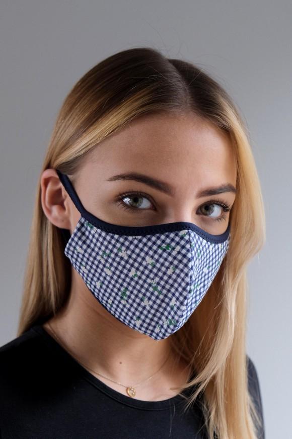 PROTECTIVE 2-LAYER FACE MASK UNISEX DARK BLUE CHECKER